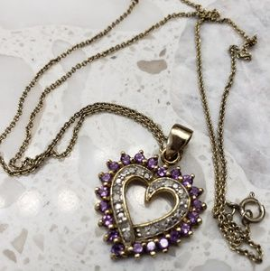 Jewelry - Gold over sterling, Diamond and amethyst heart